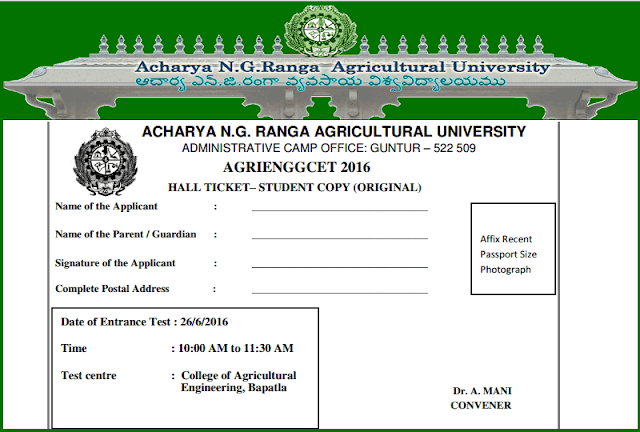Agricultural Engineering Entrance Test,AGRIENGGCET,Hall tickets