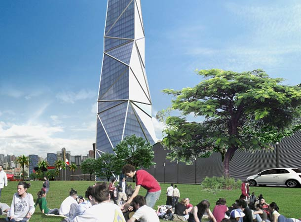 Rendering of new tallest building in Latin America as see from the park