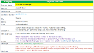 Akshara Technologies Ongole specialists for Computer training students