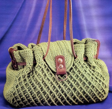 Сумка вязаная крючком.Схема вязания.  На каждый день подойдет вот такая сумка - связана она крючком их хлопковой...