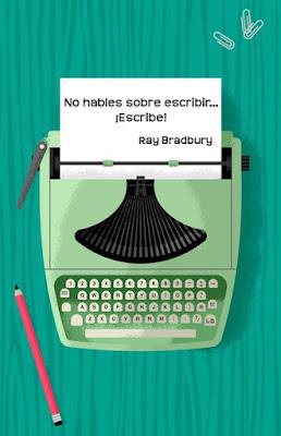 """Máquina de ecribir con mensaje: """"No hables de escribir... ¡Escribe!"""""""