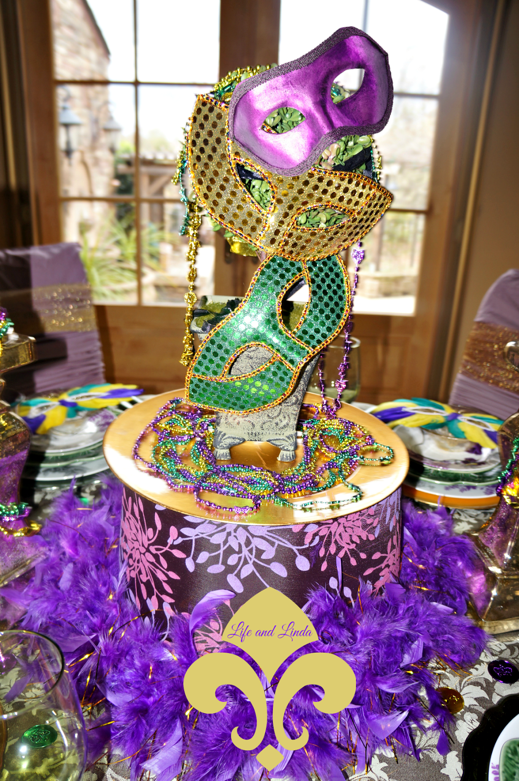 A Mardi Gras themed party featured on Jillian's blog, Catch My Party, included a few cute messages in the center of the table, wishing party guests a happy Mardi Gras. The cutouts were surrounded by an overflow of traditional colored beads and masks, which is .