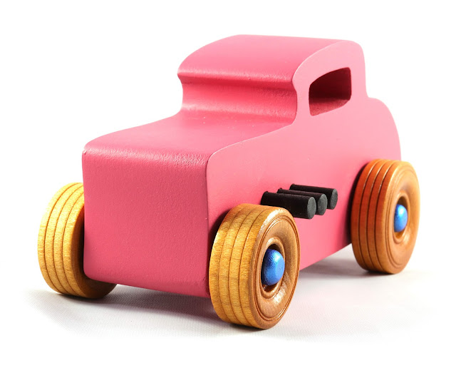 20181003-202131 482476086 Wooden Toy Car Hot Rod Deuce Coupe From the Hot Rod Freaky Ford Series Pink