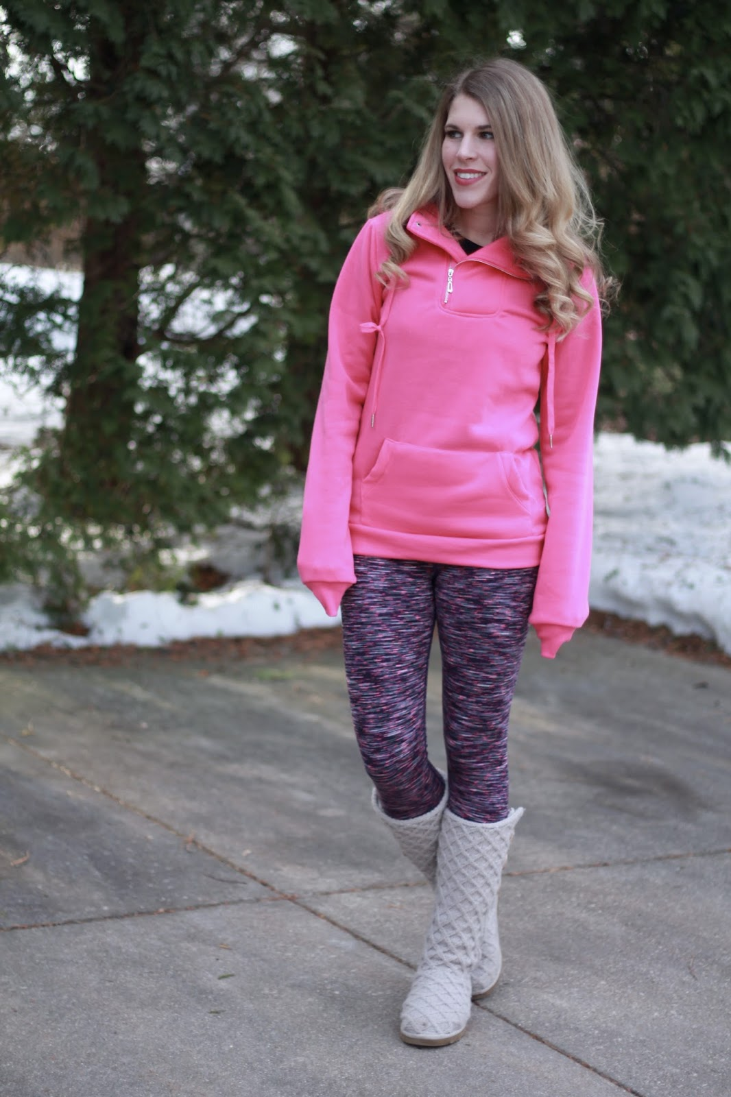 pink sweatshirt, pink and black leggings, Ugg cardigan boots