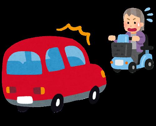 シニアカーと車の事故のイラスト