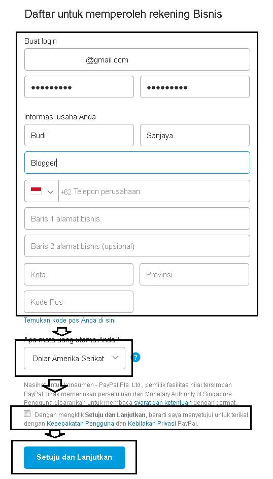 Mengisi Form di PayPal saat Mendaftar