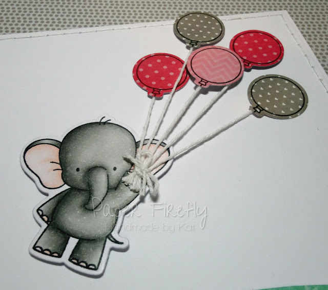 Leaving card featuring elephant with bunch of balloons (stamps/dies from My Favourite Things)