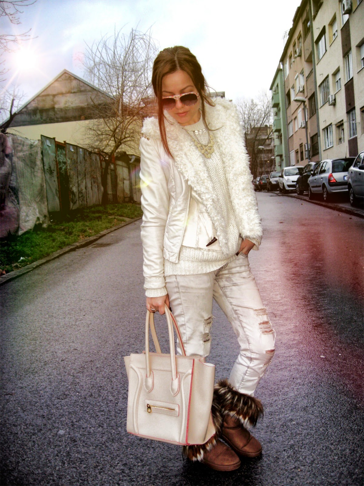 outfit, C&A white knit sweater, acid wash ripped jeans, fur boots, celine inspired knockoff beige boston tote bag, faux fur vest, white faux leather jacket, statement necklace