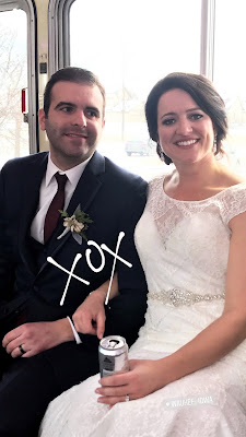 Photo of the Bride and Groom after the wedding.