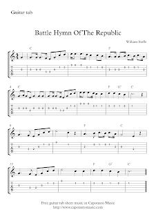 Battle Hymn Of The Republic Free guitar tab sheet music