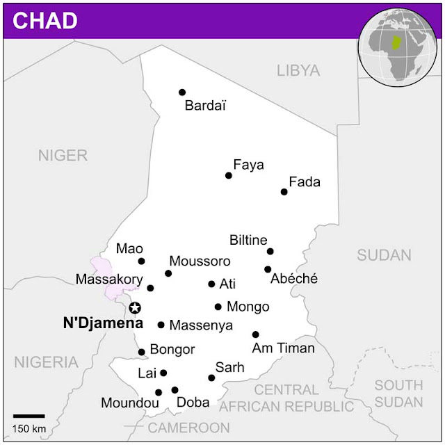 Gambar Peta kota negara Chad