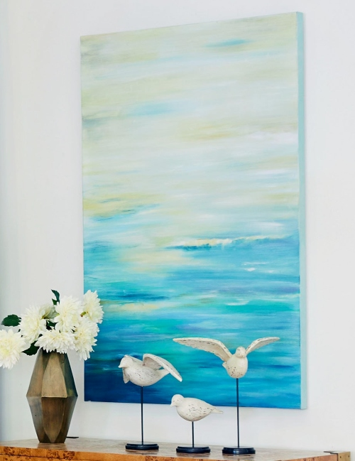 Large Vertical Abstract Ocean Art Canvas Painting Print