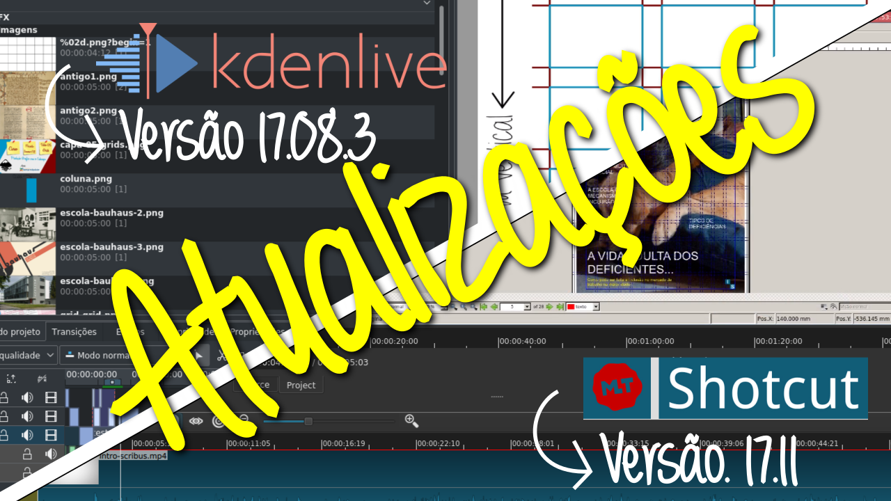Imagem de capa ilustrando o post: Atualizações do Kdenlive e do Shotcut - Imagem exibe os dois editores de vídeo e seu versões.