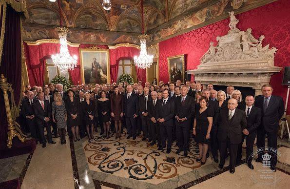 "Prince Albert and Princess Charlene of Monaco presented medals of the ""Order of St Charles"" and ""Order of Grimaldi"" to various Monaco citizens on the occasion of National Day of Monaco 2015"