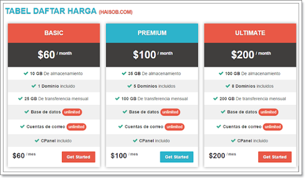 Pricing Table Haisob