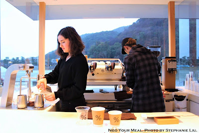 Preparing the Lattes at Arabica Coffee in Kyoto, Japan