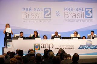 Leilões do pré-sal arrecadam R$ 6,15 bilhões e vendem 75% da área ofertada.