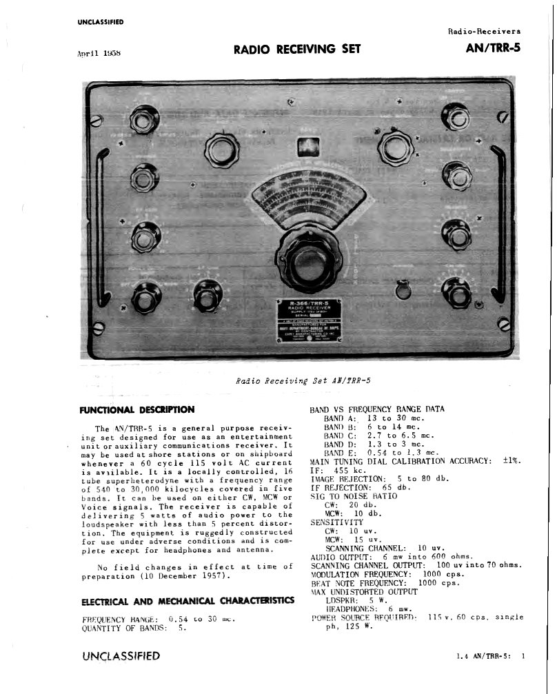 hight resolution of first page in navships describing an trr 5 and performance specifications
