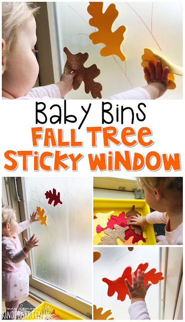 This fall tree sticky window is great for a fall theme and is completely baby safe. These Baby Bin plans are perfect for learning with little ones between 12-24 months old.