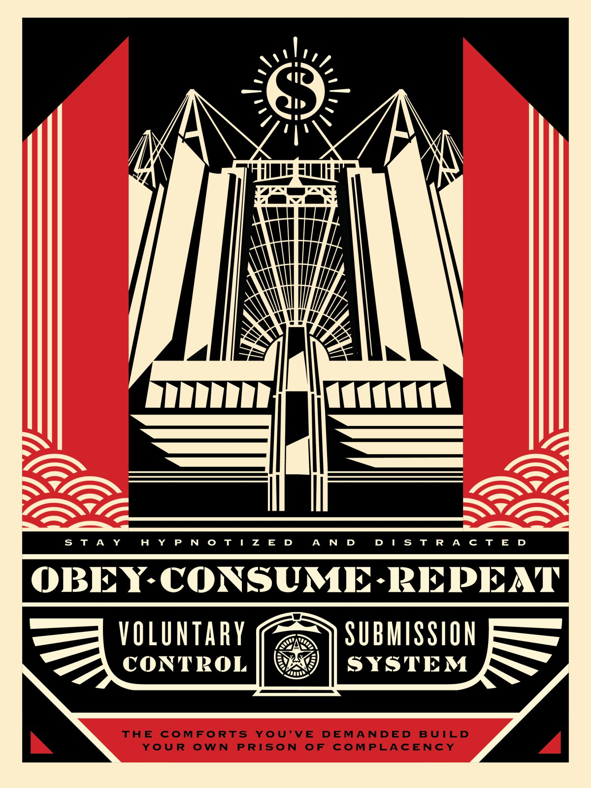 the blot says church of consumption obey giant screen print by shephard fairey. Black Bedroom Furniture Sets. Home Design Ideas