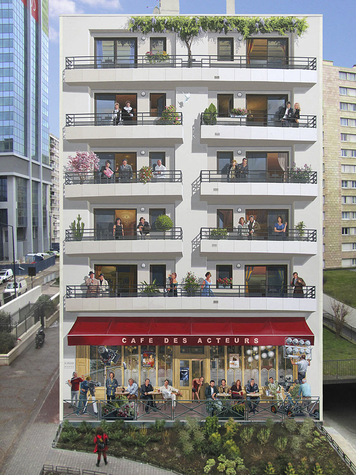French Artist Transforms Boring City Walls Into Vibrant Scenes Full Of Life - Le café des acteurs