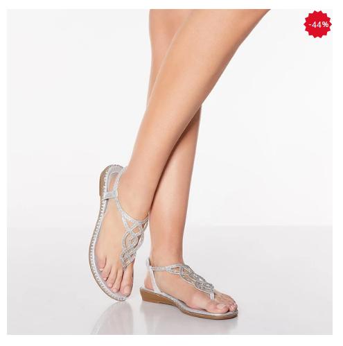 Sandale moderne de vară pentru femei în stil boem strălucitoare cu pietricele