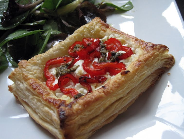 Goats Cheese and Red Pepper Pastries with Pesto