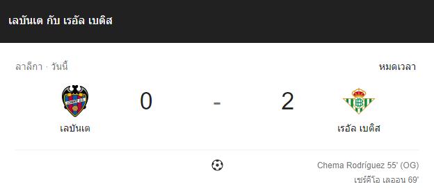 แทงบอล ไฮไลท์ เหตุการณ์การแข่งขัน เลบันเต้ vs เรอัล เบติส