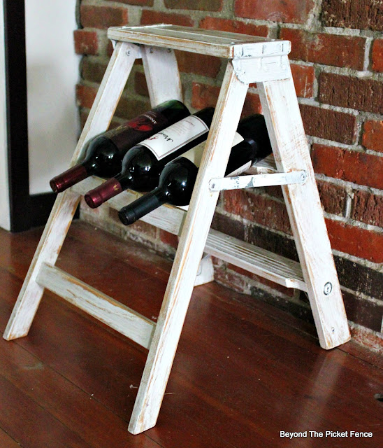 wine shelf, step ladder, upcycled, repurposed, farmhouse decor. https://goo.gl/dztLg9