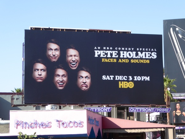 Pete Holmes Faces Sounds HBO comedy special billboard