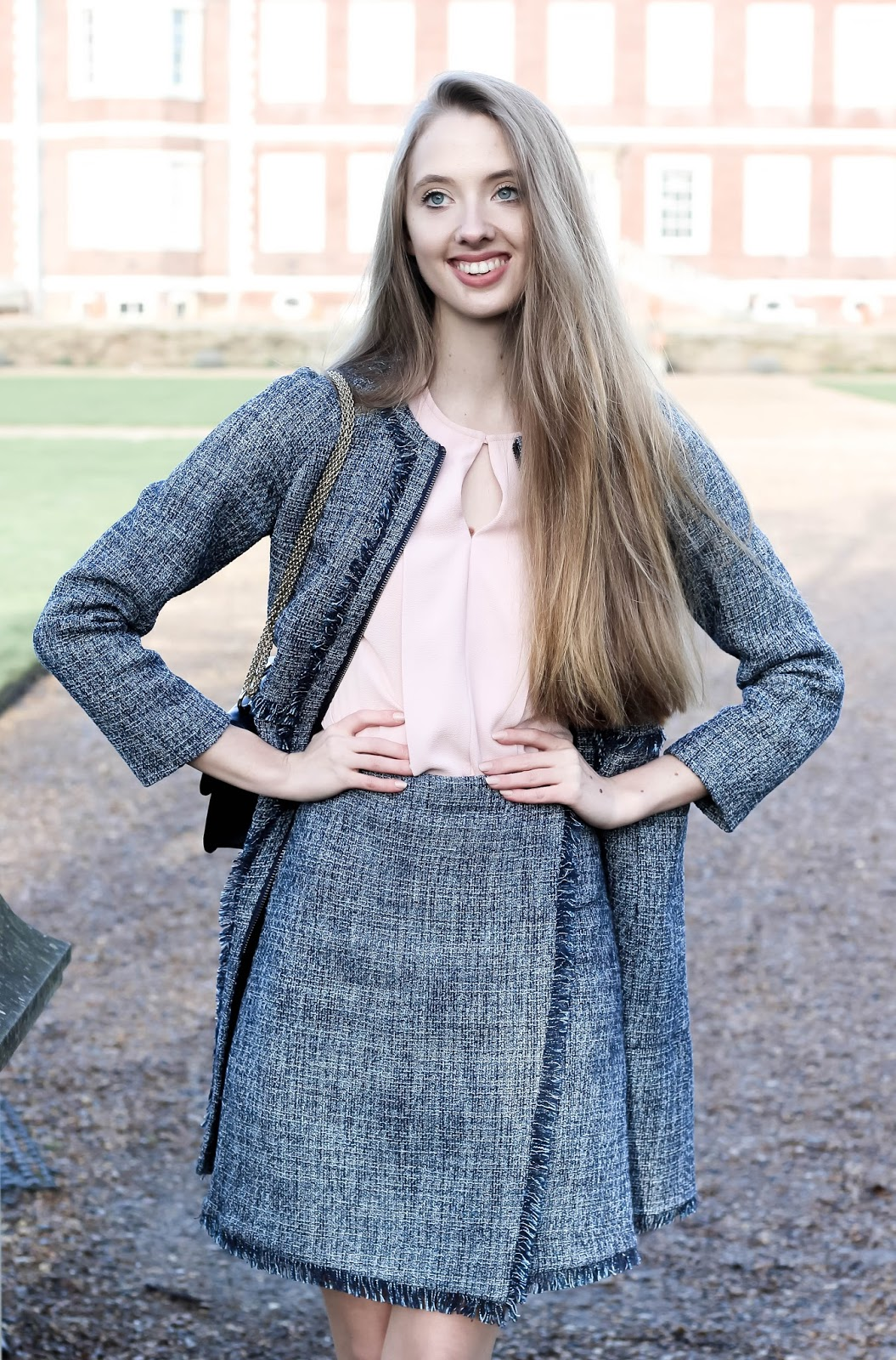 Navy Blue Tweed Skirt Suit Spring