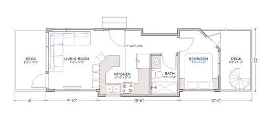 tiny house town utopian villas 39 denali model 400 sq ft. Black Bedroom Furniture Sets. Home Design Ideas