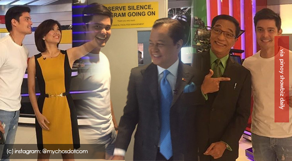 Look: Dingdong Dantes visits the set of TV Patrol; takes photos with news anchors