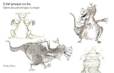 recherche de personnages, dragon, encre