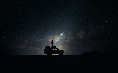 Une Voiture Sous un Ciel Étoilé - Fond d'Écran en Full HD 1080p