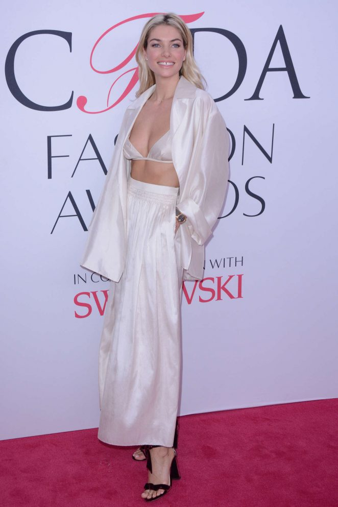 Jessica Hart exposes silk bra at the CFDA Fashion Awards