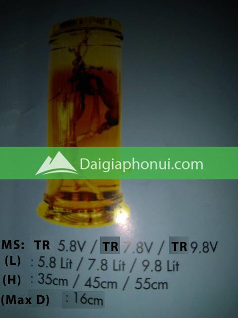thông số bình ngâm rượu Phú Hoà mã số TR 5.8, 7.8 & 9.8 LÍT CÓ VAN/VÒI