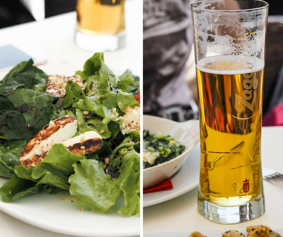 Halloumi salad and pint of beer