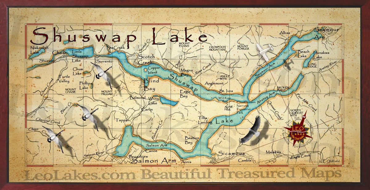 Map Of Shuswap Lake B C Canada Old field Studio: August 2013