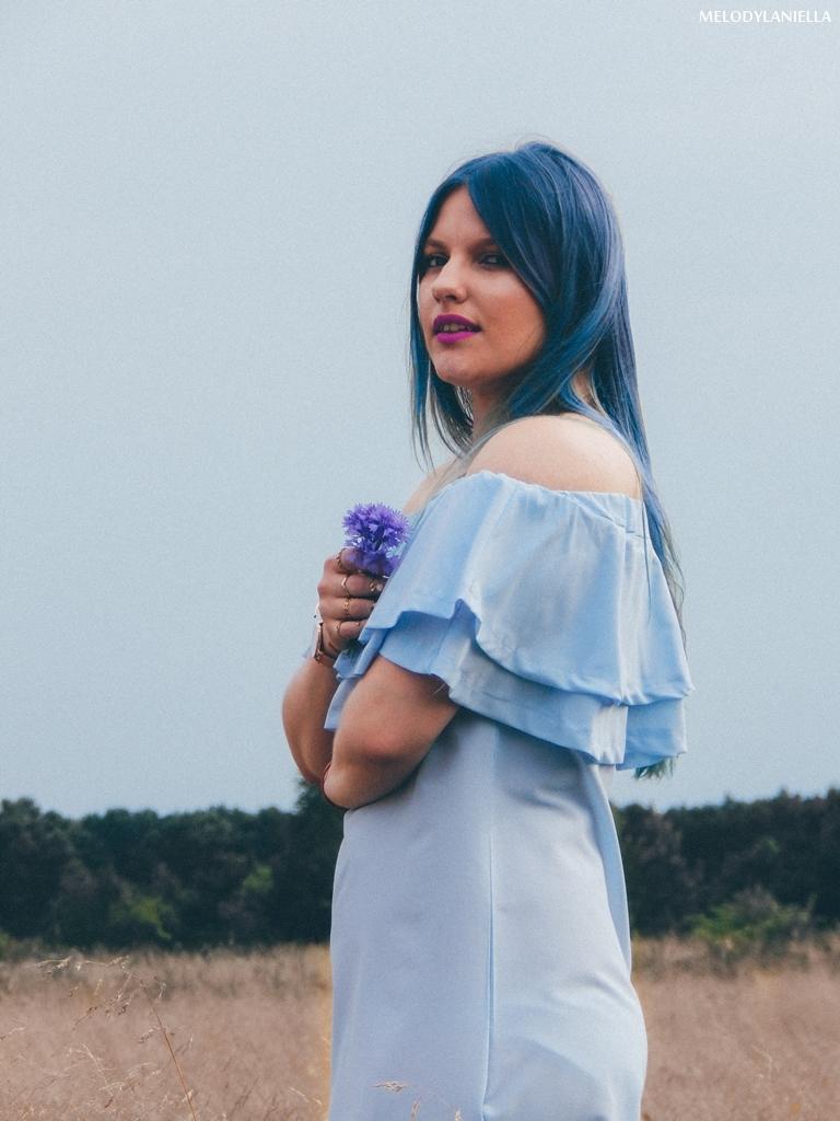 8 daniel wellington ootd lookbook fashion blogger modowe blogerki z łodzi melodylaniella blue hair niebieskie włosy baby blue hiszpanka venita błękitna sukienka stylizacja outfit modna polka pastel hair