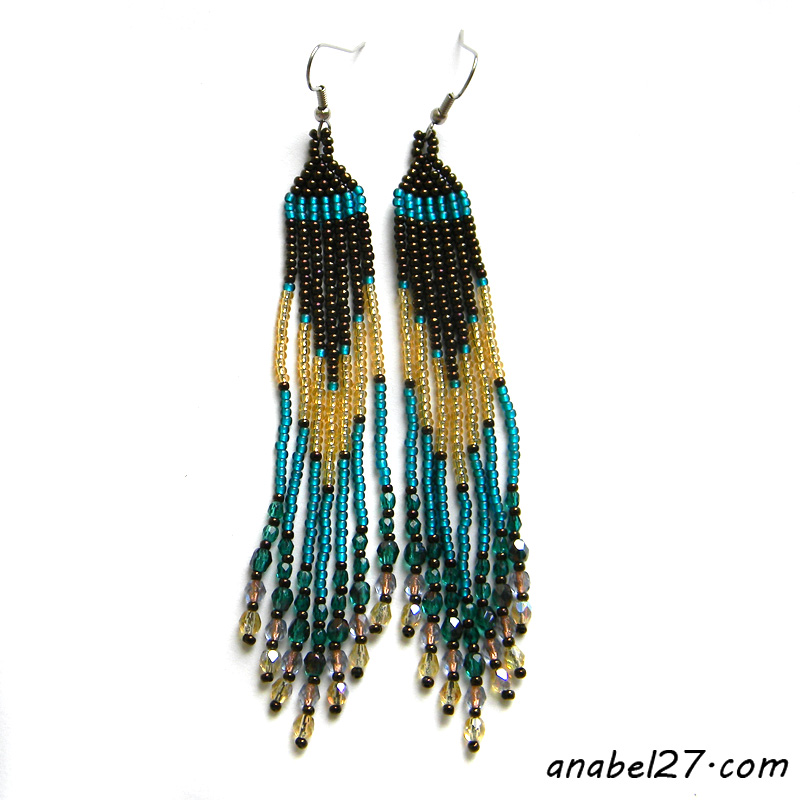 Аfringe beaded earrings beadwork beaded jewelry