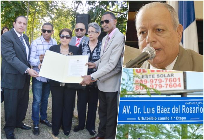 Nombran avenida en honor al doctor Luís Báez del Rosario