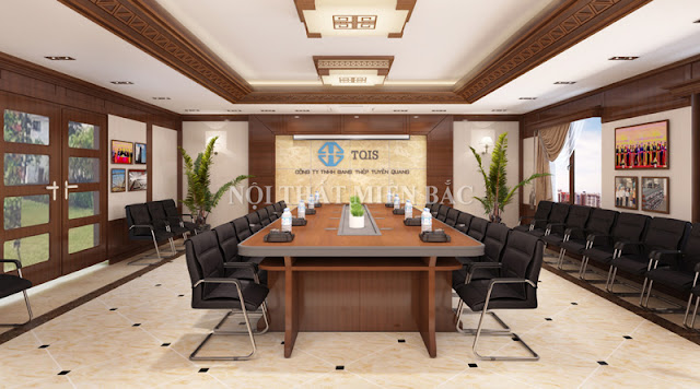 Không gian phòng họp này trở nên hài hòa hơn với lựa chọn bàn họp nhập khẩu hình chữ nhật cao cấp được làm từ chất liệu gỗ tự nhiên