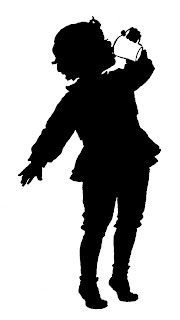 boy drinking cup silhouette antique image download