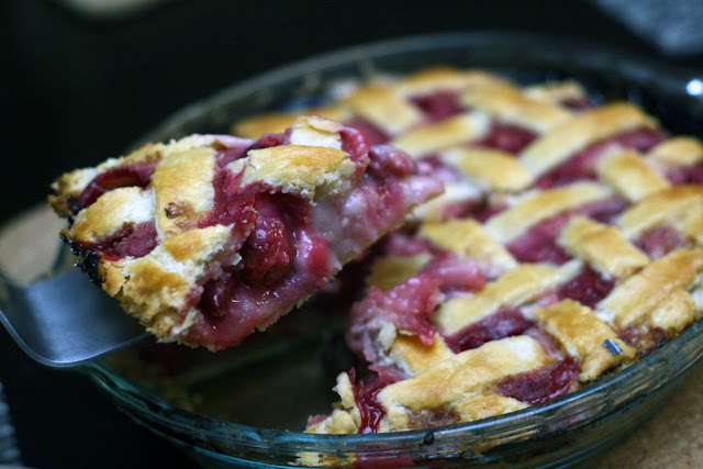 A gorgeous slice of sour cream cherry pie fresh out of the oven. Recipe from the Duchess cookbook.