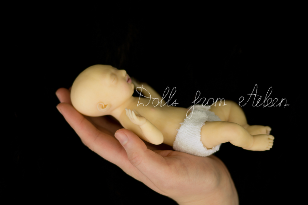 OOAK Hand Sculpted Mini Sleeping Baby Boy Doll on Human Hand