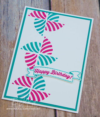 Swirly Bird Pinwheel Birthday Card by Stampin' Up! UK Demonstrator Bekka Prideaux
