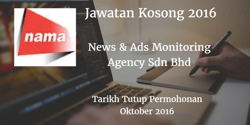 Jawatan Kosong  News & Ads Monitoring Agency Sdn Bhd Oktober 2016