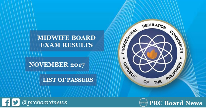 OFFICIAL RESULTS: November 2017 Midwife board exam list of passers