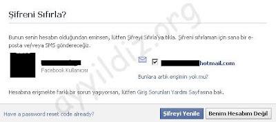 Facebook şifrenizi sıfırlayın
